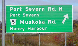 Muskoka Rd. 5 to Honey Harbour highway exit sign