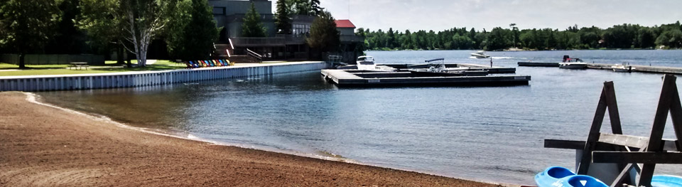 Georgian Bay beach and Delawana Resort docks