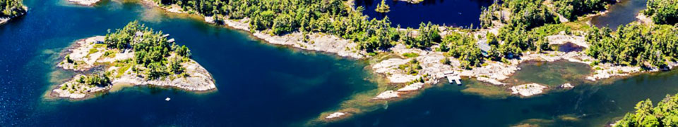 Muskoka Lakes Georgian Bay islands aerial
