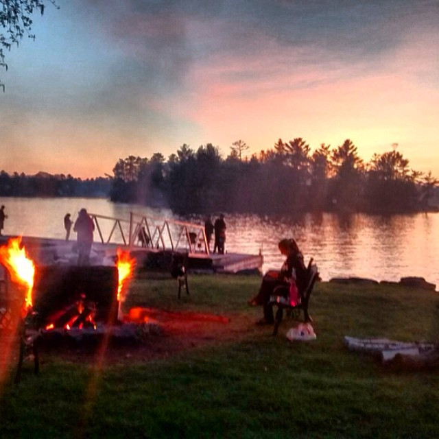 This is how we roll at the Delawana Resort campfire sunset Muskoka life maylongweekend