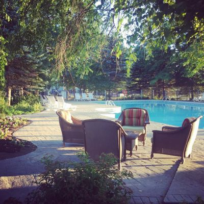 Outdoor Muskoka Swimming Pool at the Delawana Resort