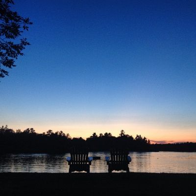 Muskoka Chairs Sunset - Delawana Resort